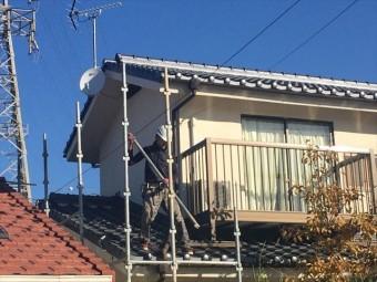 岡山市北区 瓦屋根葺き替え工事 養生足場の解体