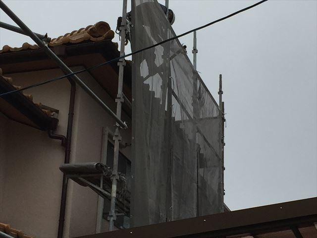 岡山市南区 屋根瓦葺き替え工事 養生足場