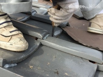 岡山市南区 屋根修繕 瓦止めラバーロック工法