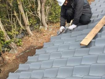 岡山市南区 屋根修繕 2階の瓦止めラバーロック工法