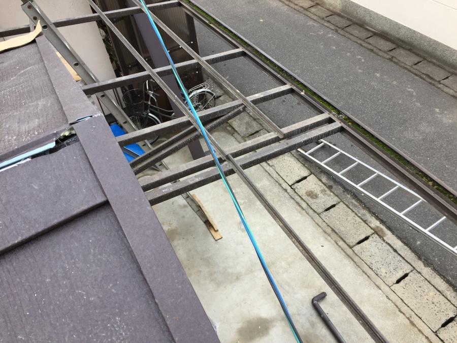 岡山市北区で養生足場解体も終わりカーポートの部材復旧工事