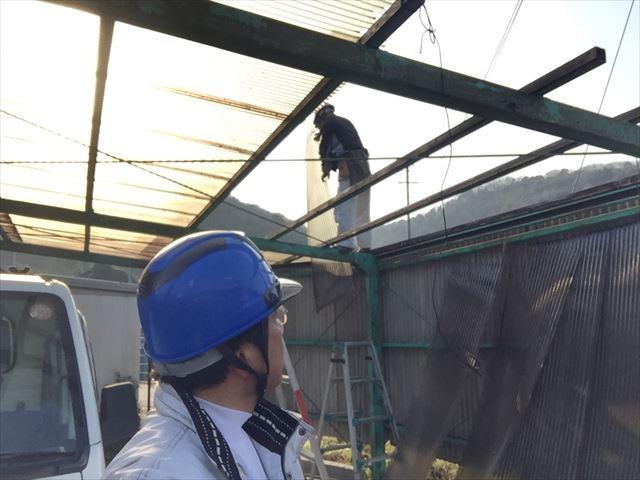 岡山市東区で波板取り替え注意点。木部、錆止め塗装、ポリカフック