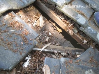 岡山県赤磐市 屋根工事 雨漏り修理 谷部点検 野地板腐っています