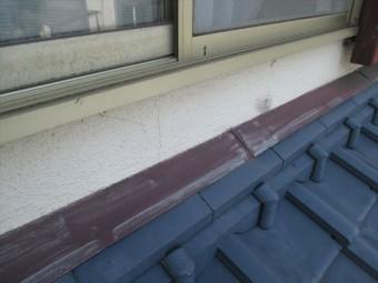 岡山市南区 屋根工事 雨漏り修理 雨押え板金も色あせています