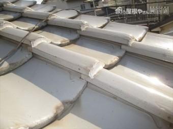 岡山県市北区 屋根工事 屋根リフォーム 瓦が浮いてます