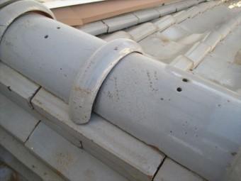 岡山県市北区 屋根工事 屋根リフォーム 丸瓦も置いてあるだけ