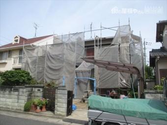 岡山市南区で屋根リフォーム セメント瓦を三州瓦に葺き替え 工事前養生足場