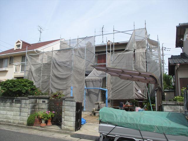岡山市南区で屋根リフォーム 壁ギワのし施工 塗装のいらない屋根瓦に