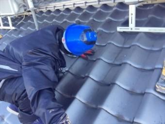 倉敷市 屋根瓦漆喰入れ替え工事 点検の模様