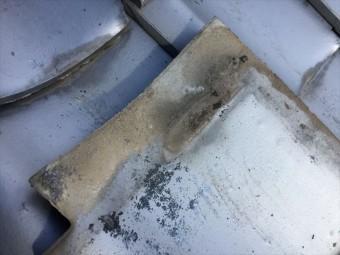 岡山市北区 雨漏り修理 瓦に土ぼこりが