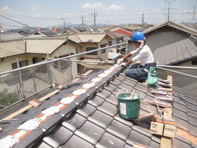 岡山市南区 屋根工事 屋根リフォーム 大屋ね本棟1段目施工