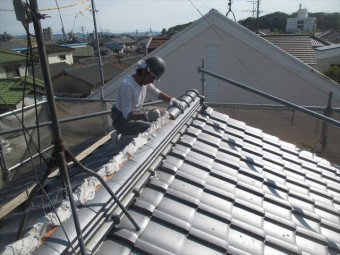 岡山市南区 屋根工事 屋根リフォーム 大屋ね本棟5寸丸施工