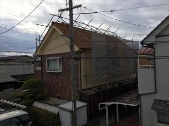 岡山南区 屋根工事 屋根足場設置