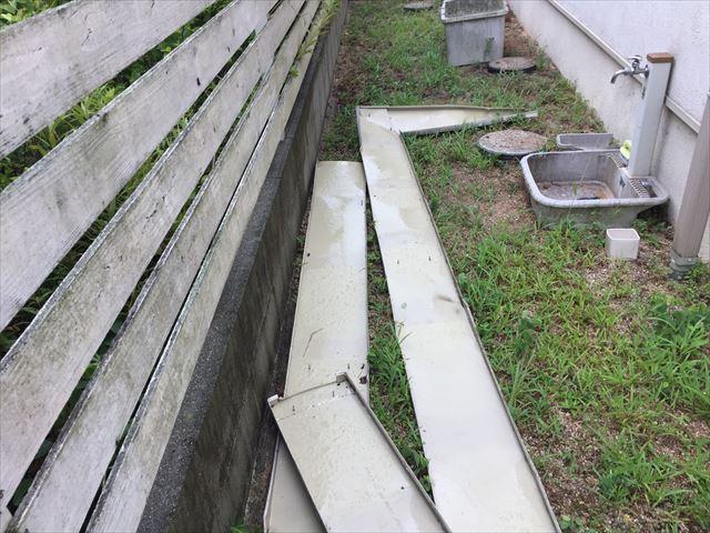 岡山市南区で台風で板金が飛んだ