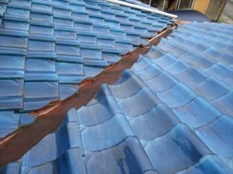 岡山市南区 陸屋根の雨漏り点検 谷板金