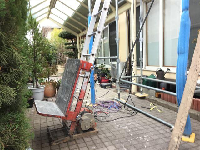岡山市南区 屋根瓦修理 棟解体組み立て 瓦揚げ機セット