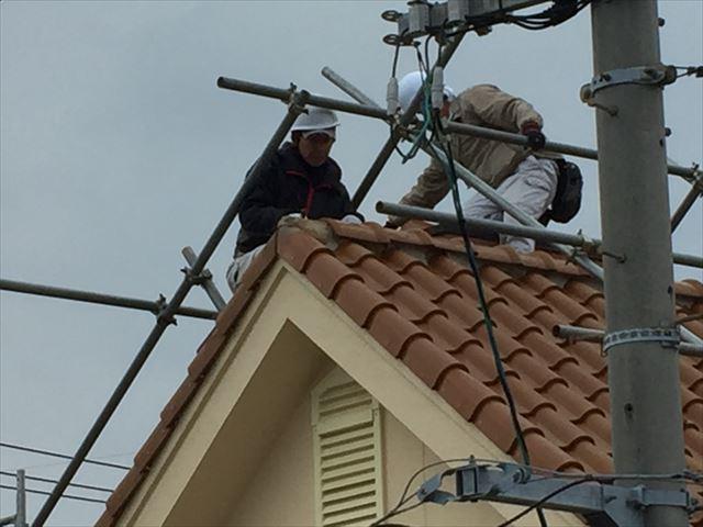 岡山市南区 屋根瓦修理 棟解体組み立て 棟解体