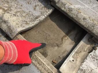 倉敷市 屋根修理点検下地に雨もり跡