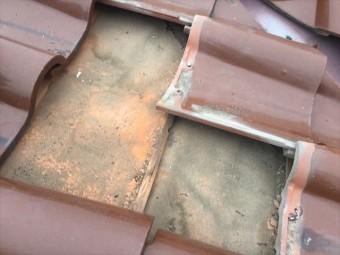 岡山市東区 屋根工事 雨漏りの点検 雨漏りの跡