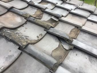 玉野市 雨漏り調査 割れ瓦がはげしいです