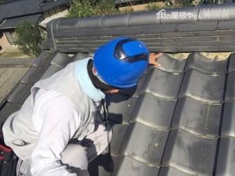 岡山県和気町で屋根修理 三日月漆喰点検
