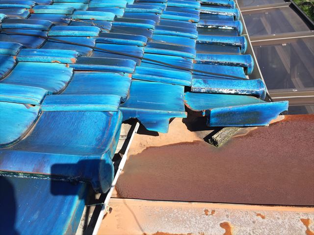 岡山市南区 屋根補修工事 軒瓦のズレ