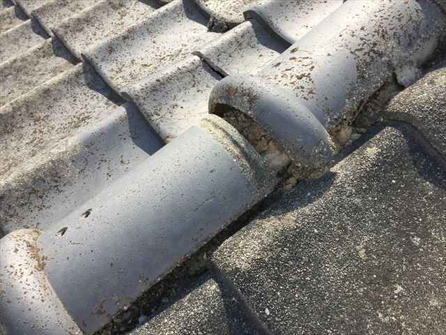 岡山市中区 雨漏り修理 瓦のズレ
