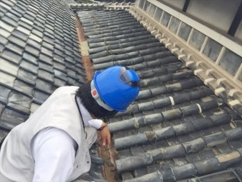 岡山市東区で雨漏り修理 点検中