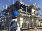 岡山市北区 屋根リフォームの足場です。確認の模様です。