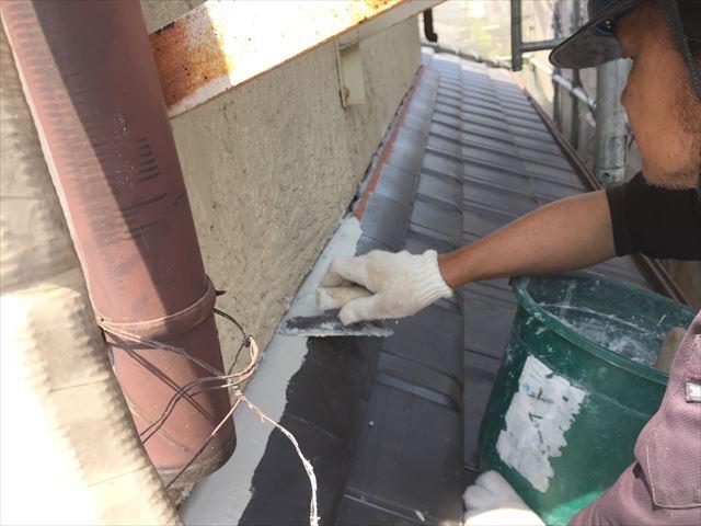 岡山市南区 瓦際の熨斗の上に漆喰