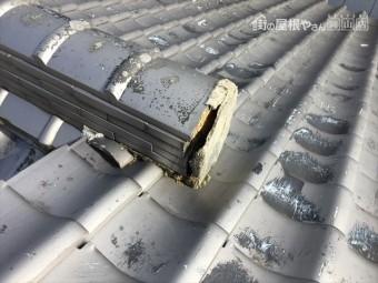 岡山市北区で台風 雨漏り修理 棟の漆喰が剥がれてます