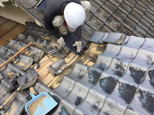 岡山市北区で台風 雨漏り修理 熨斗解体組み立て