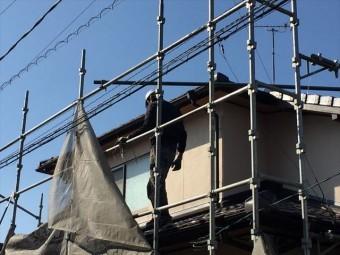 岡山市南区 養生足場解体 ネット取り外し