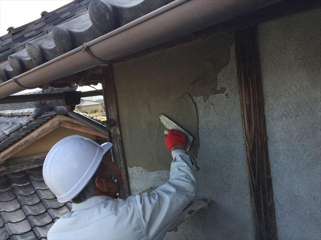 岡山市北区 雨漏り修理 モルタル上塗り