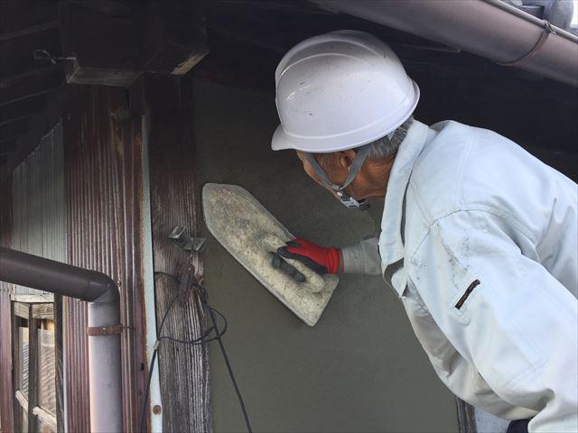 岡山市北区 雨漏り修理 モルタル仕上げ