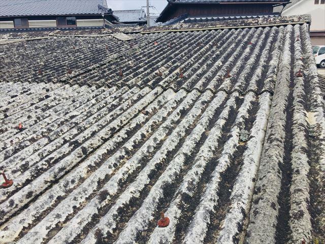 岡山市北区で劣化した小波スレート屋根の点検(アスベスト入)