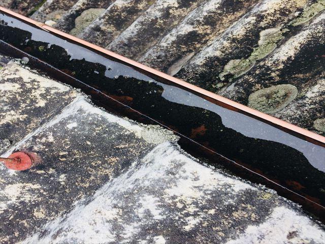 岡山市北区 雨樋に雨水がたまっています。