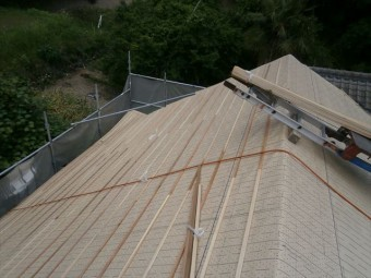 岡山県久米南町 屋根工事 屋根リフォーム 桟木打ちつけ
