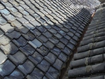 岡山市東区 雨漏り修理  屋根瓦補修工事 工事前