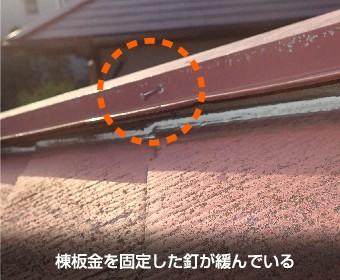 棟板を固定した釘が緩んでいる