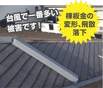 台風被害:棟板金の変形、飛散、落下(台風で一番多い被害)