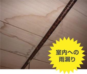 台風被害:室内への雨漏り